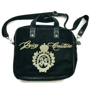 JUICY COUTURE black velvet laptop bag
